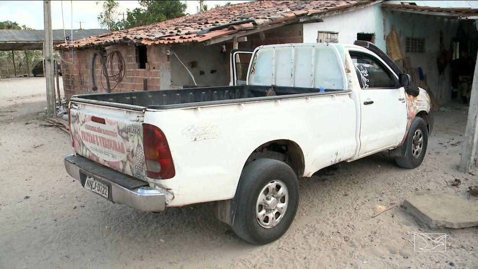 O comerciante Paulo da Conceição, uma das vítimas do golpe, deu R$ 20 mil de entrada nesta caminhonete que foi apreendida na operação. (Foto: Reprodução/TV Mirante)