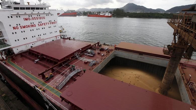 Navio carregado com soja no porto de Santos (SP) (Foto: REUTERS/Paulo Whitaker)