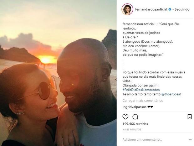 Fernanda homenageia Thiaguinho (Foto: Reprodução/Instagram)