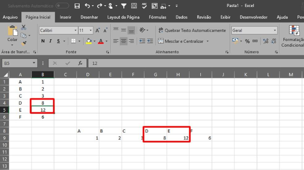 A tabela transposta terá valores fixos e refletirá quaisquer alterações na tabela original (Foto: Reprodução/Daniel Ribeiro)