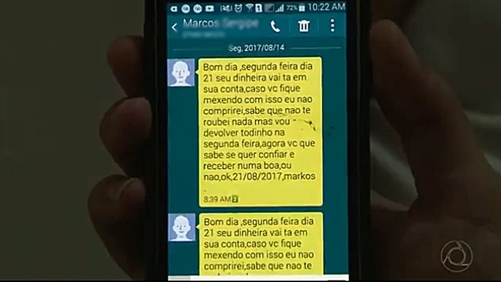 Suspeito de aplicar golpe do 'Don Juan' se comunicava com a vítima por mensagens (Foto: Reprodução/TV Cabo Branco)