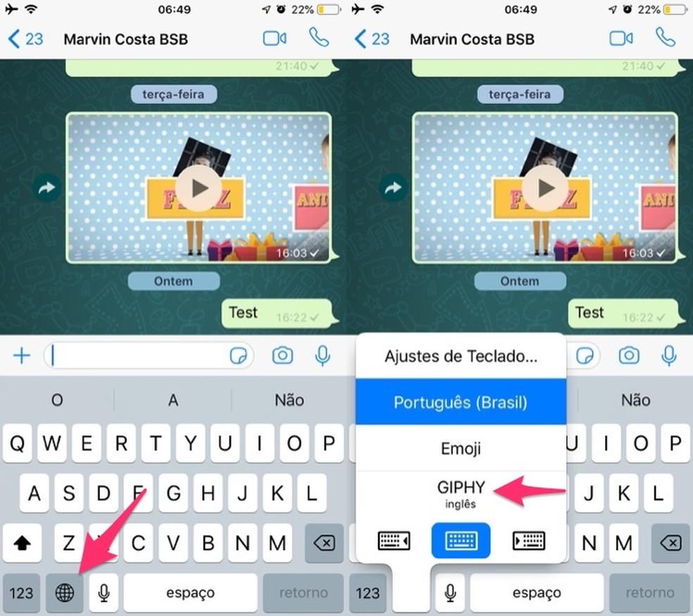 Ação para ativar o teclado virtual Giphy no iPhone — Foto: Reprodução/Marvin Costa