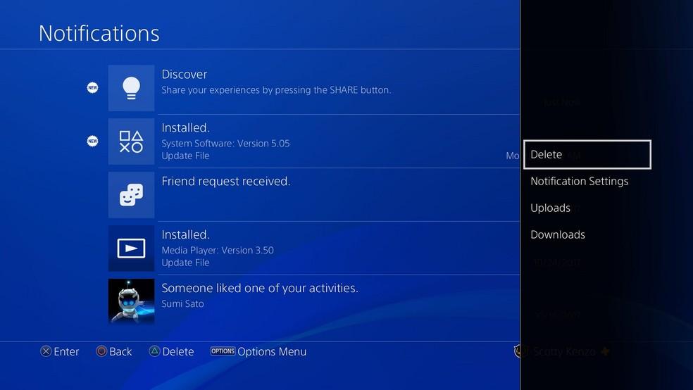 Atualização também permite apagar notificações do sistema (Foto: Divulgação/Sony)