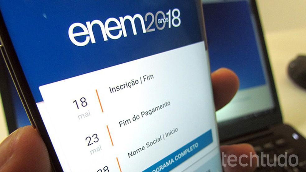 App do Enem 2018 permite ver notas de provas passadas (Foto: Paulo Alves/TechTudo)