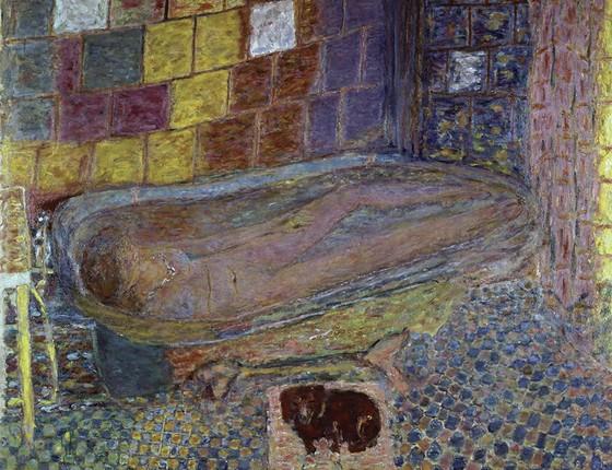"""Nu na banheira, quadro em óleo de 1937 do pintor Pierre Bonnard: """"Costumava achar essa pintura um pouco exagerada; agora, é uma de minhas favoritas do acervo. A única razão para meu gosto estético ter mudado é que agora reconheço esse cachorro"""" (Foto: PIERRE BONNARD/BRIDGEMAN IMAGES/GLOW IMAGES)"""
