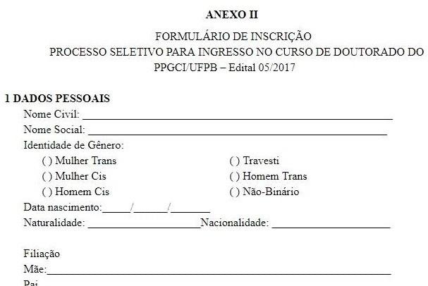 Formulário de inscrição da UFPB