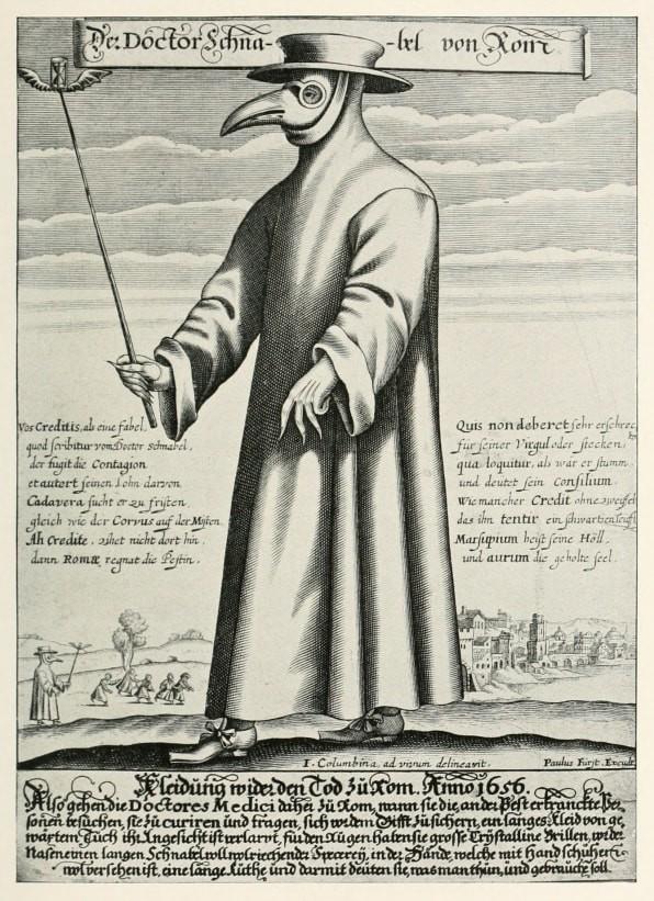 Gravura em cobre de médico durante a epidemia de peste em Roma, século XVII (Foto: Wiki Commons)
