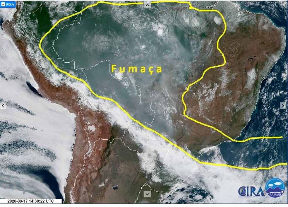 Nuvem de fumaça provocada por queimadas no Pantanal chega ao céu de São Paulo — Foto: Reprodução/Inpe