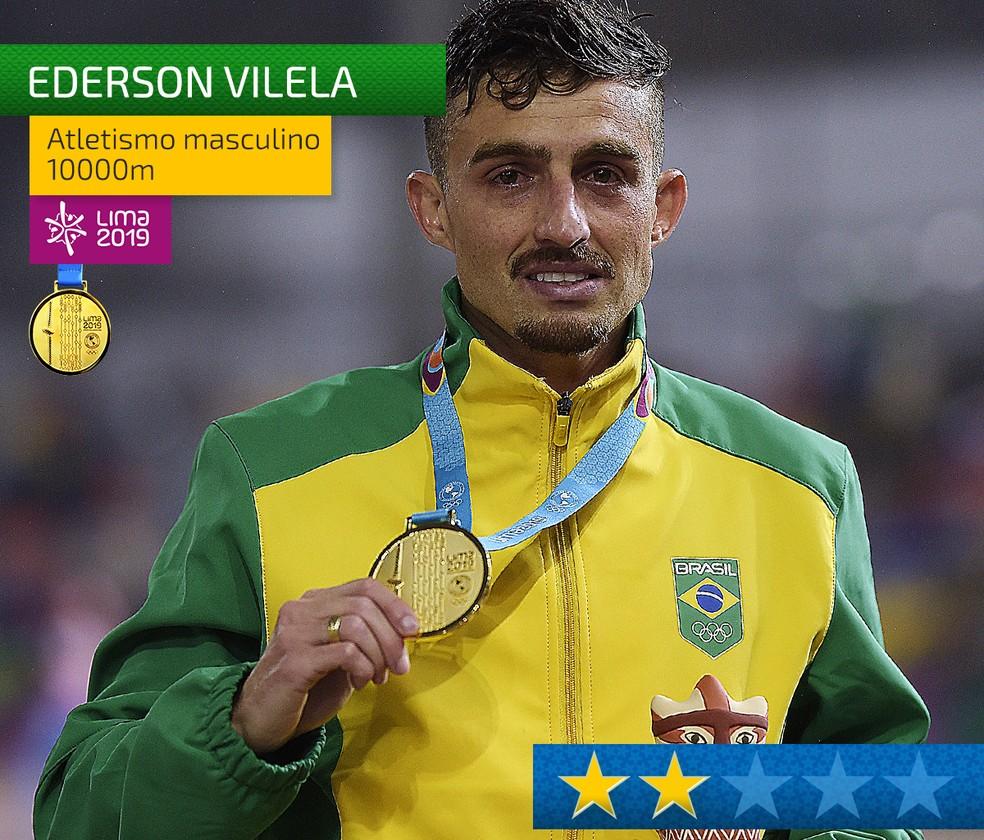 Ederson Vilela, ouro na prova de pista mais longa do atletismo — Foto: Infografia