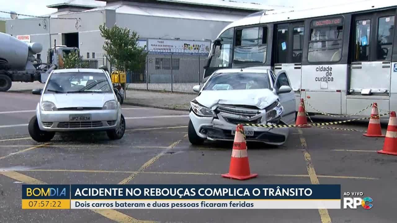 Duas pessoas ficam feridas em acidente na região do bairro Rebouças, em Curitiba