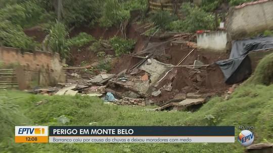Barranco cede e derruba casa e parte de quintal durante chuvas em Monte Belo, MG