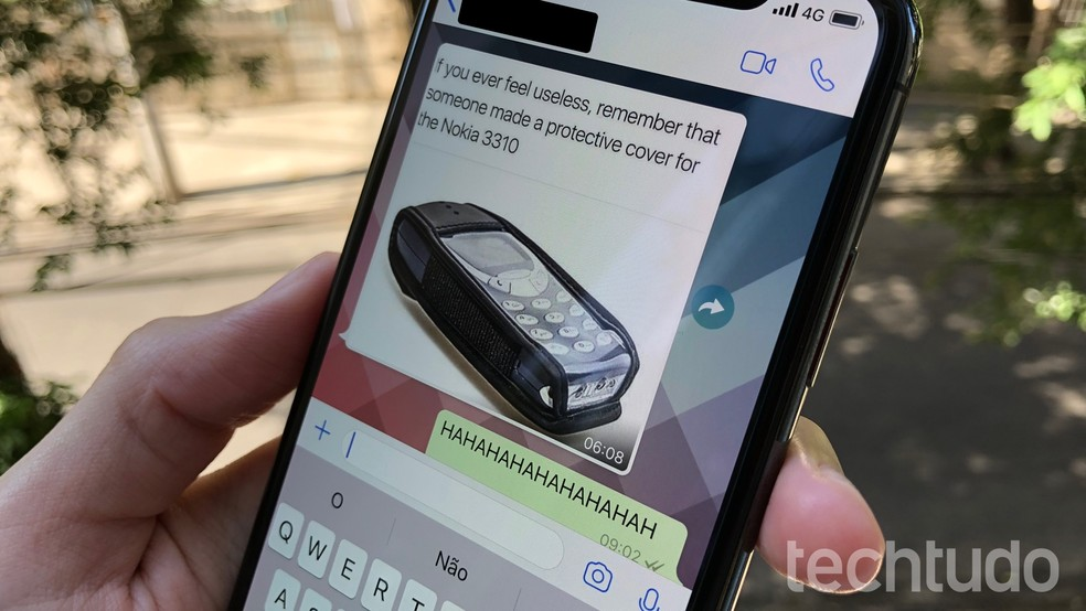 WhatsApp testa limites em ferramenta de encaminhar mensagem e remove botão que dá acesso rápido ao recurso (Foto: Thássius Veloso / TechTudo)