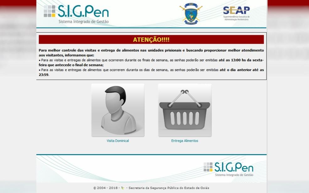 Site da SSP gera senhas para visitas após cadastro no Vapt Vupt (Foto: SSP/Reprodução)