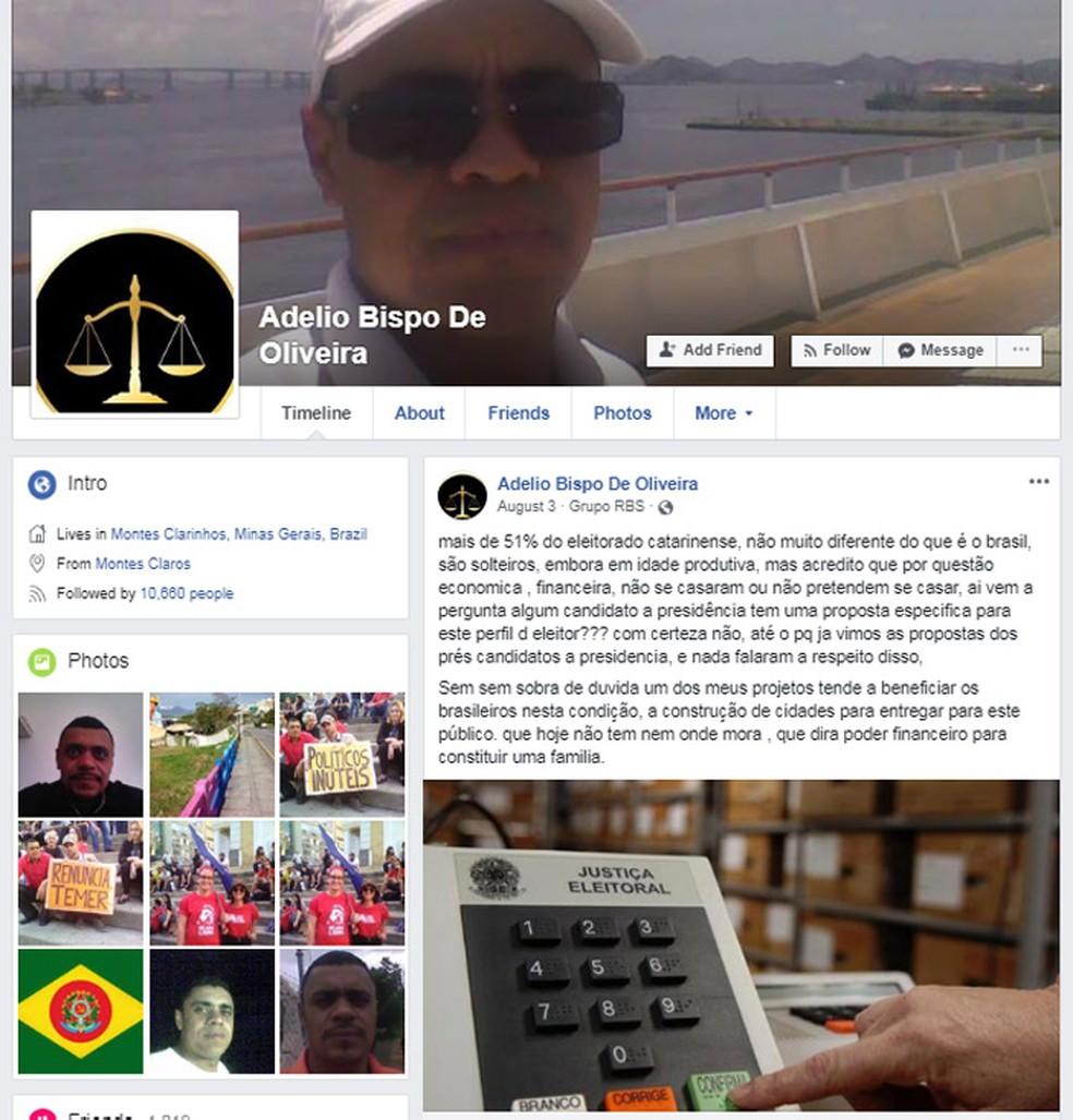 Perfil de Adelio Bispo de Oliveira no Facebook (Foto: Reprodução/Facebook)