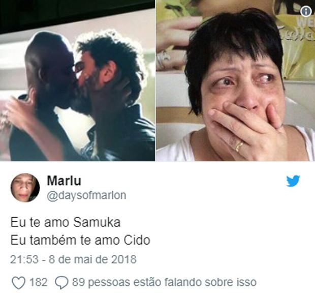 Beijo de Cido (Rafael Zulu) e Samuel (Eriberto Leão) repercute na web (Foto: Reprodução)