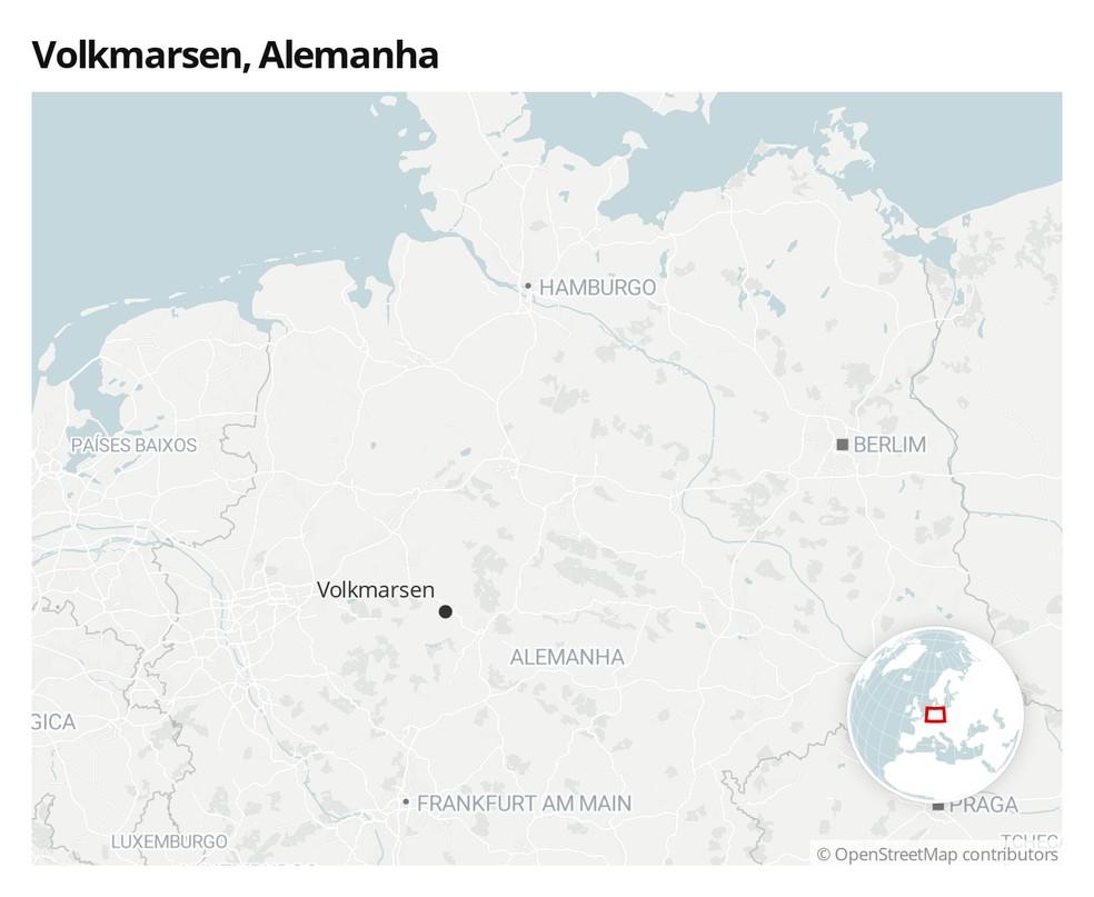Mapa com a localização da cidade de Volkmarsen, na Alemanha — Foto:  G1
