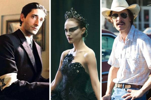 Adrien Brody, Natalie Portman e Matthew McConaughey já fizeram alguns sacrifícios mirando a sonhada estatueta dourada (Foto: Reprodução)