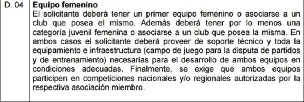 Regulamento de Licença de clubes da Conmebol prevê que clubes tenham times femininos — Foto: Reprodução/Conmebol