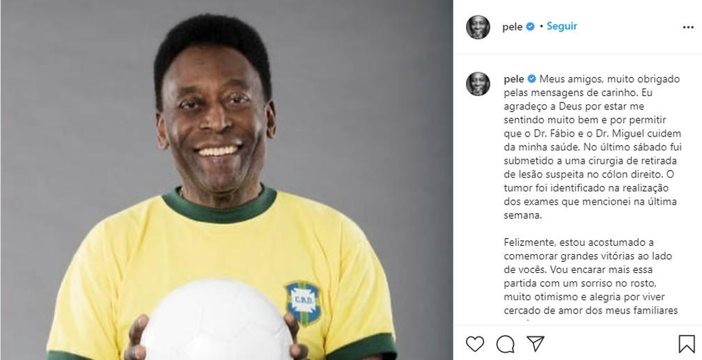 Pelé manda recado nas redes sociais após internação — Foto: Reprodução