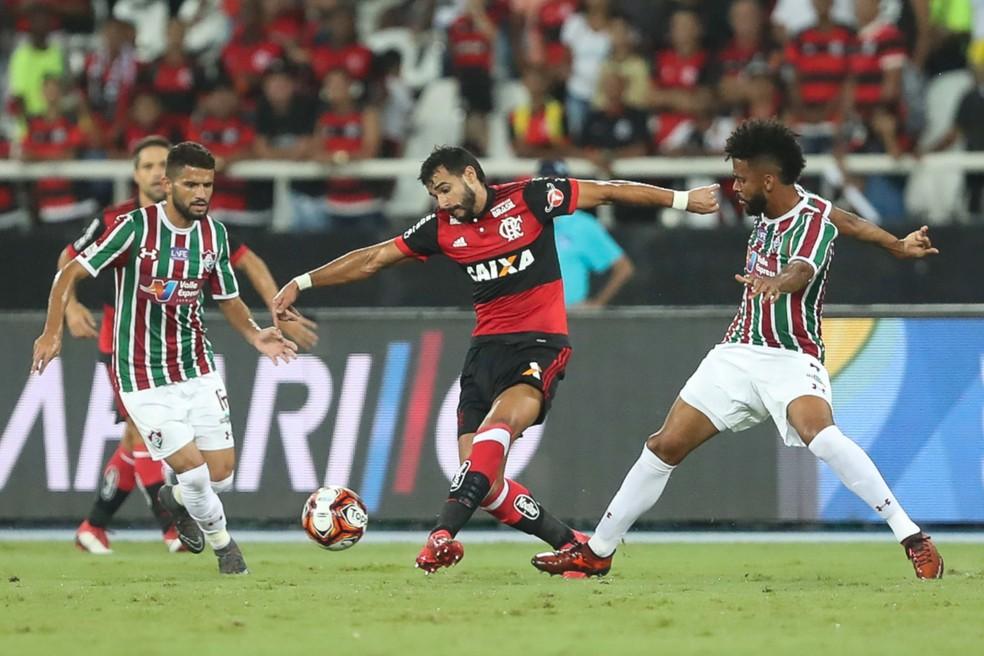 Henrique Dourado enfrentou o Flu pela primeira vez com a camisa do Flamengo na semifinal da Taça Rio — Foto: Gilvan de Souza/Flamengo