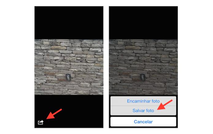 Salvando uma foto feita através do Facebook Messenger na biblioteca do iOS (Foto: Reprodução/Marvin Costa)
