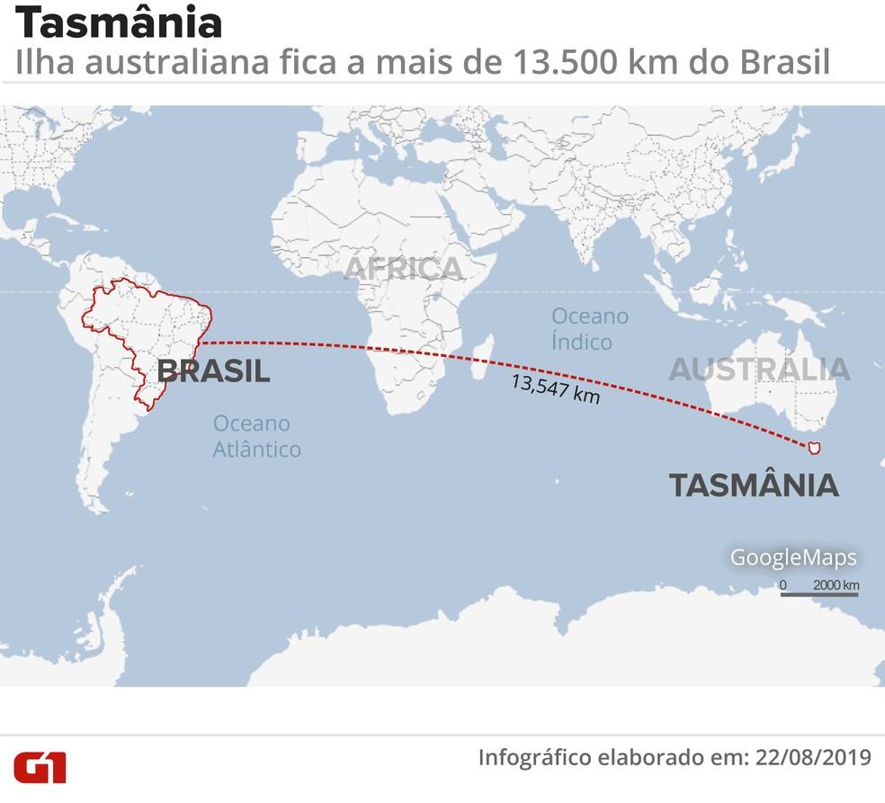 Onde fica a Tasmânia — Foto: Wagner Magalhães/G1