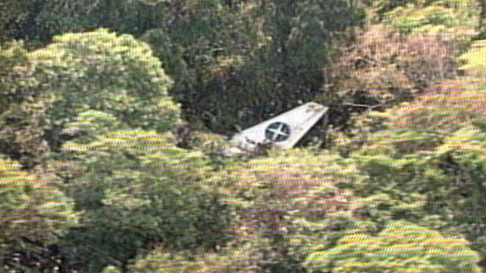 Imagem de arquivo do acidente com o avião da Varig em Marabá, em 1989 — Foto: TV Globo/Reprodução