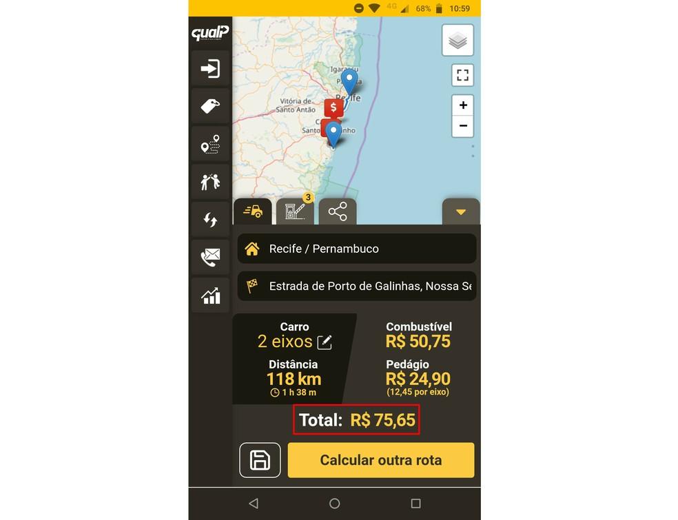 QualP faz permite calcular pedágio e combustível necessários para uma viagem — Foto: Reprodução/Rodrigo Fernandes