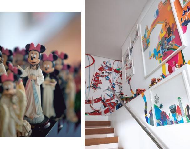 Em cada canto: Até a escadaria é estampada com a arte de Pedro Varela (Foto: Vicente De Paulo)