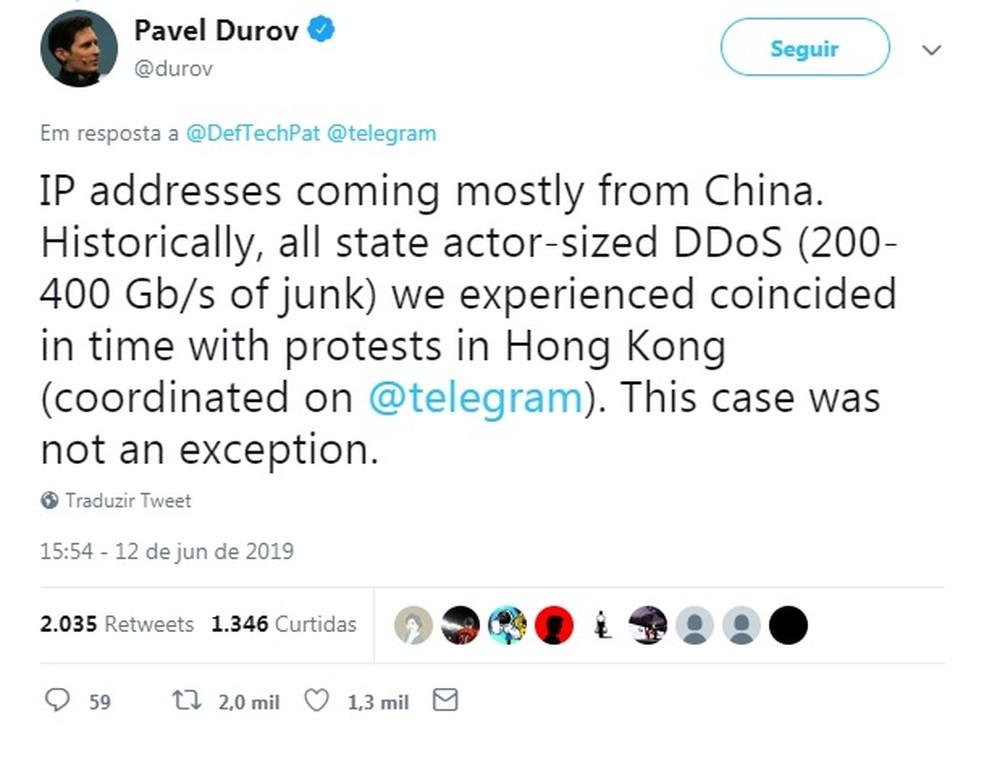 Padel Durov, fundador do Telegram, disse no Twitter que há registros de ataques com IPs chineses. — Foto: Reprodução/Twitter
