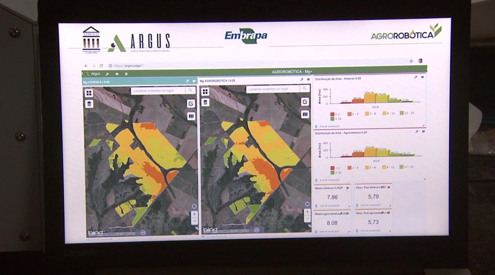 Equipamento desenvolvido pela Embrapa de São Carlos faz análise de solo em tempo real. — Foto: Reprodução EPTV