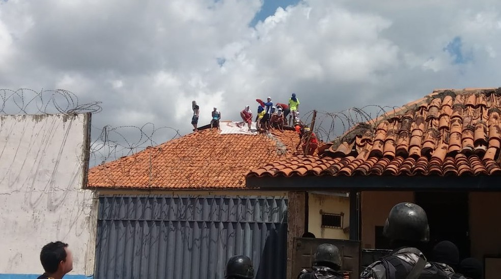 Detentos fazem rebelião em presídio de Paragominas, no Pará. (Foto: Reprodução / Twitter Pará Notícias)