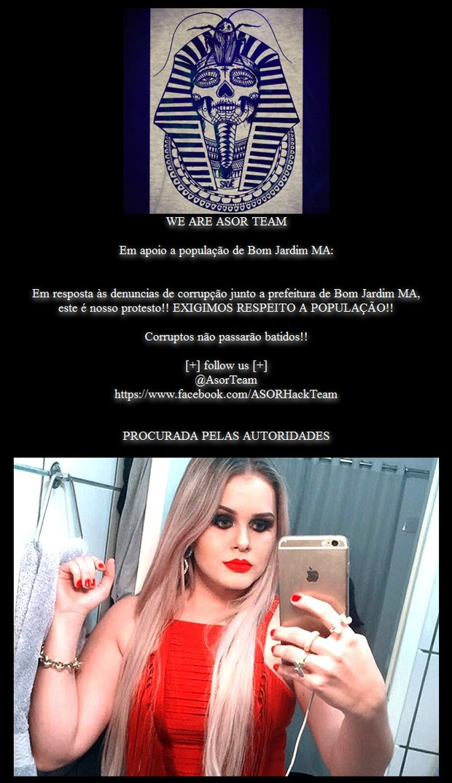 Página eletrônica da Prefeitura de Bom Jardim (MA) foi hackeada nesta segunda-feira (24) (Foto: Reprodução)