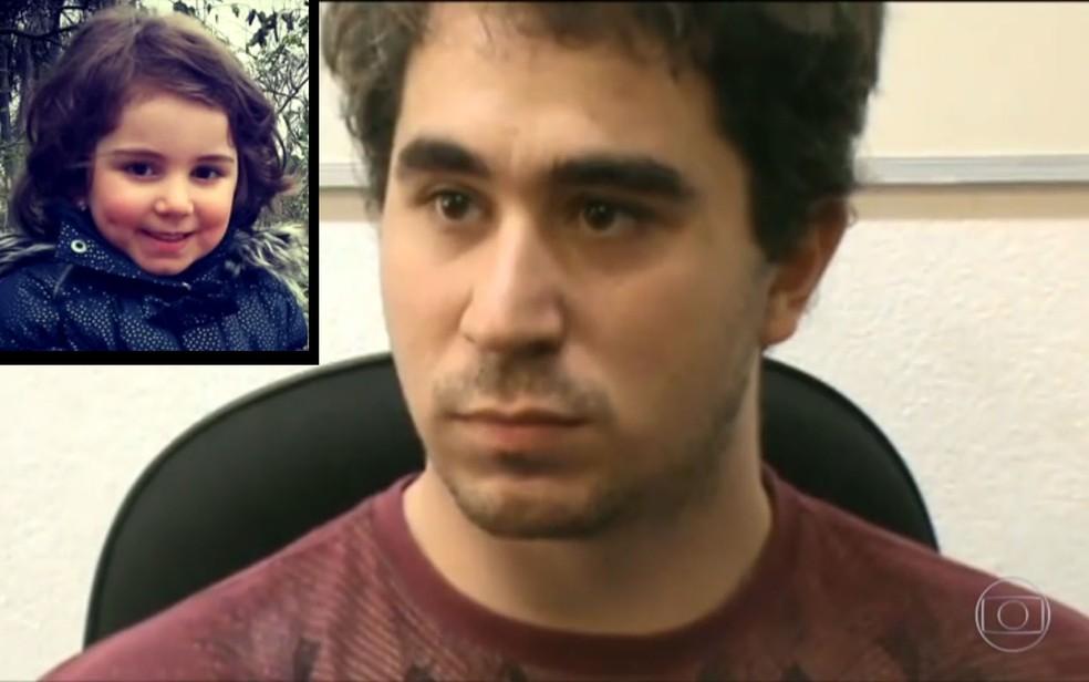 Ricardo Krause é acusado de matar a filha, Sophia (no detalhe, à esquerda) (Foto: Reprodução/TV Globo)