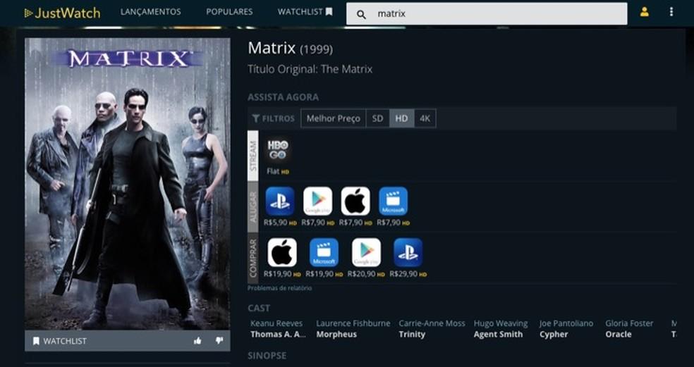 Tutorial mostra como usar o site JustWatch para conhecer o catálogo de serviços de streaming — Foto: Reprodução/Marvin Costa