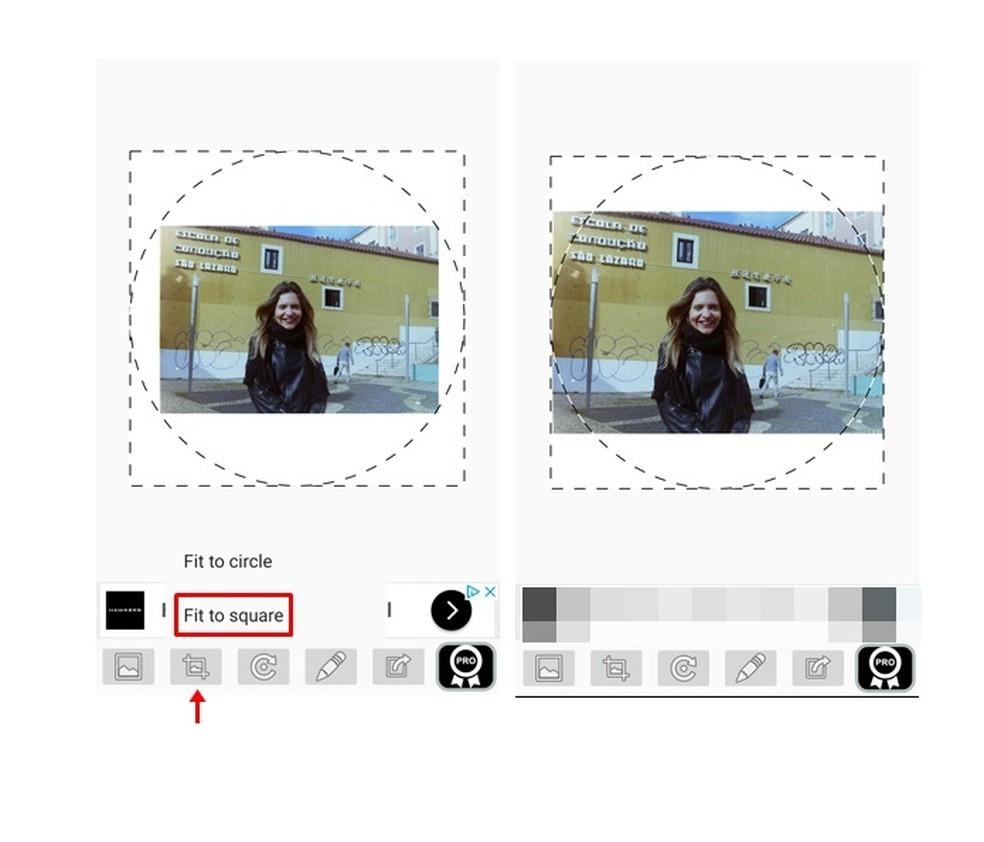 A área dentro do círculo mostra como a foto será exibida no perfil do WhatsApp (Foto: Reprodução/ Taysa Coelho)
