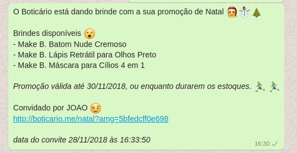 Mensagem falsa compartilhada no WhatsApp oferece brindes da marca O Boticário — Foto: Reprodução/ TechTudo