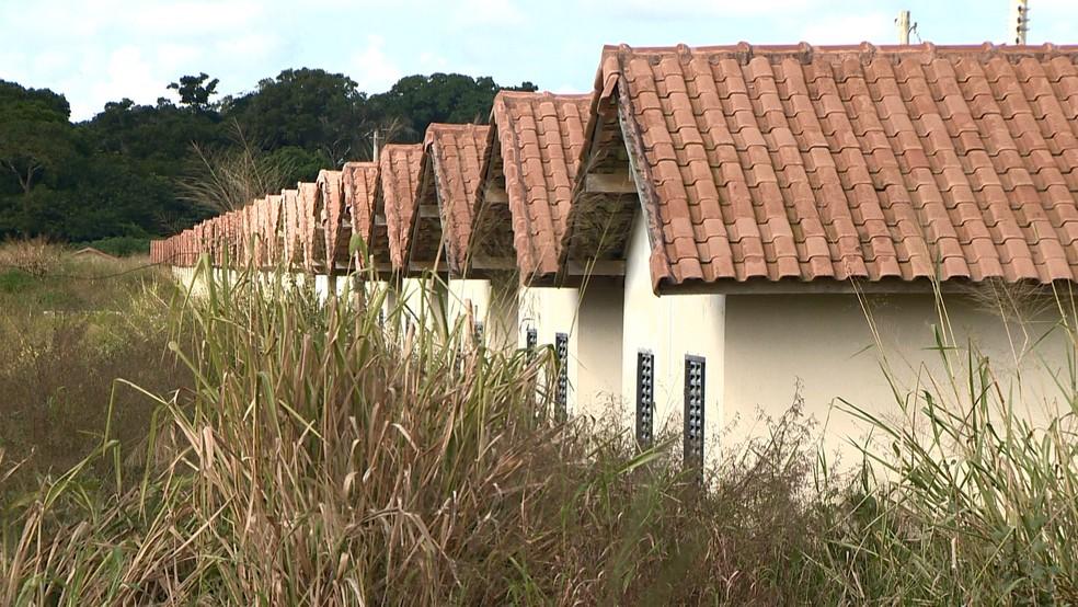 Imóveis do conjunto habitacional Mata do Cacau está tomado pelo mato, em Linhares, no Espírito Santo (Foto: Ari Melo/ TV Gazeta)