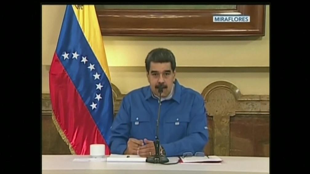 Maduro faz pronunciamento — Foto: Reprodução/GloboNews