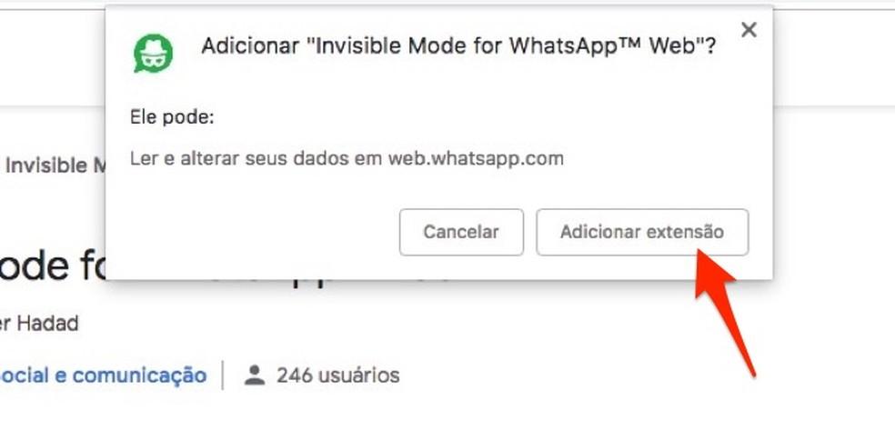 Ação para baixar e instalar no Chrome a extensão Invisible Mode for WhatsApp Web — Foto: Reprodução/Marvin Costa