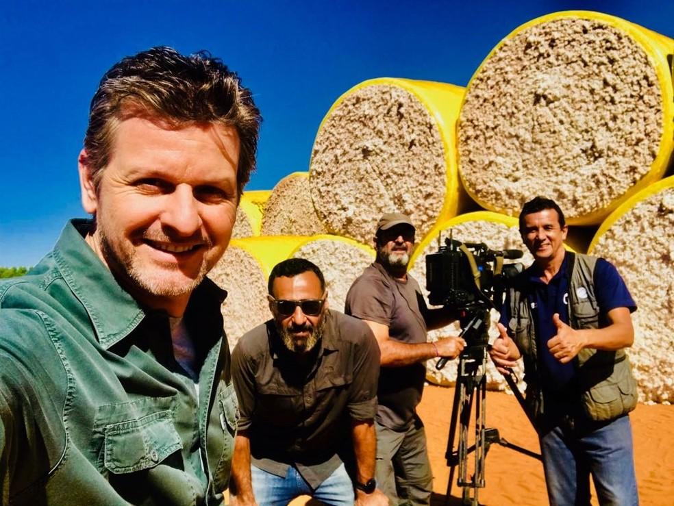 Bastidores da reportagem: equipe do Globo Rural em lavoura de algodão (Foto: TV Globo)