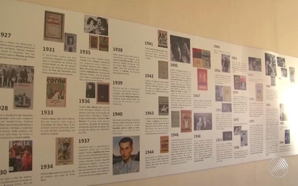 Painel conta a história da família do escritor (Foto: Reprodução/TV Santa Cruz)