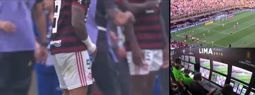 Gabigol é expulso por gesto obsceno em Flamengo x River Plate — Foto: Reprodução
