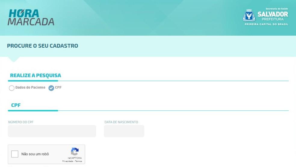 Prefeitura de Salvador cria site para agendamento de vacinação de idosos  — Foto: Reprodução/Prefeitura de Salvador