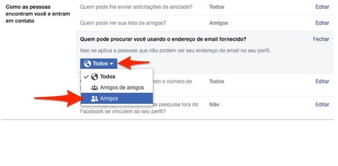 Altere a privacidade da busca por endereço de e-mail em uma conta do Facebook (Foto: Reprodução/Marvin Costa)
