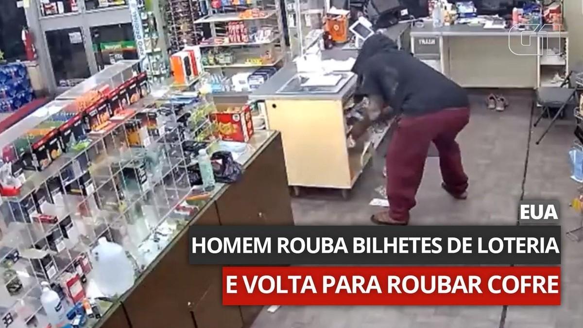 Homem rouba bilhetes de loteria em loja, troca de roupa e volta para roubar cofre; assista
