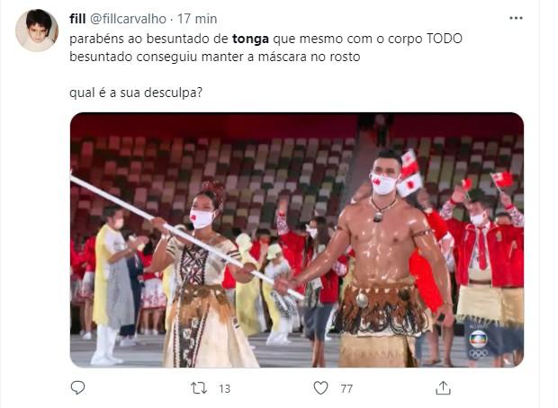Besuntado de Tonga faz sucesso na web (Foto: Reprodução/Twitter)