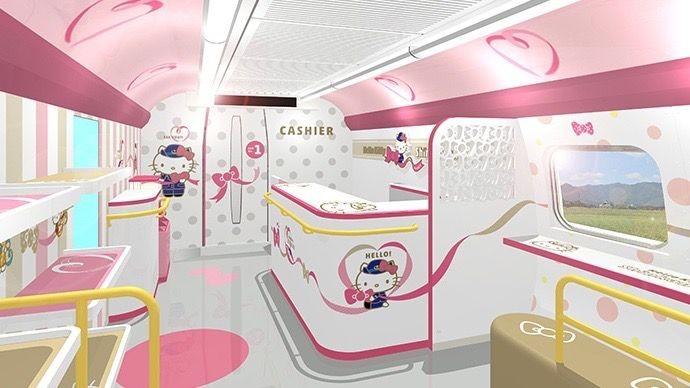 Interior do trem-bala da Hello Kitty (Foto: Divulgação)