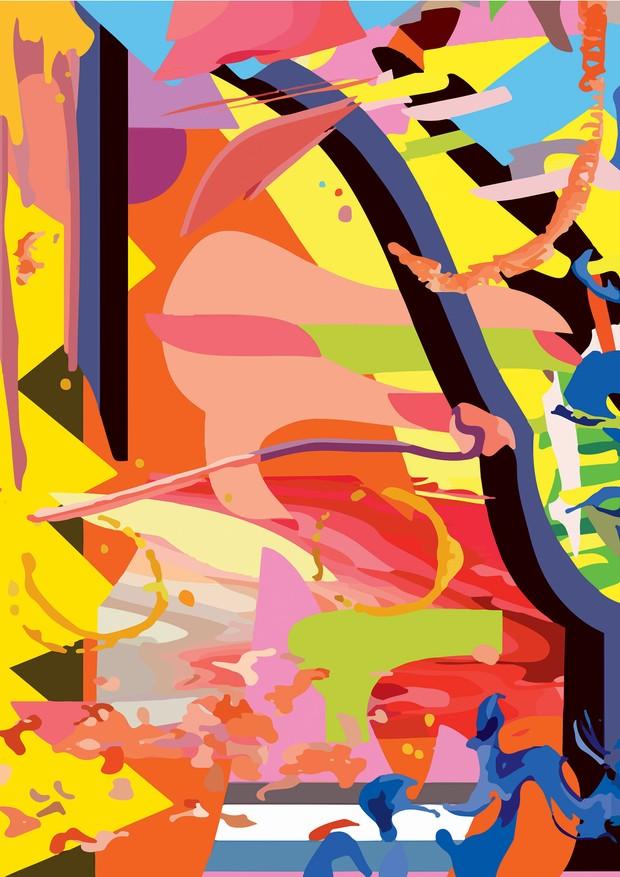 Obra de Eli Sudbrack feita especialmente para a Vogue, inspirada em nova série de pinturas que será exibida na Casa Triângulo (Foto: Erick Flores Quesada e Divulgação)