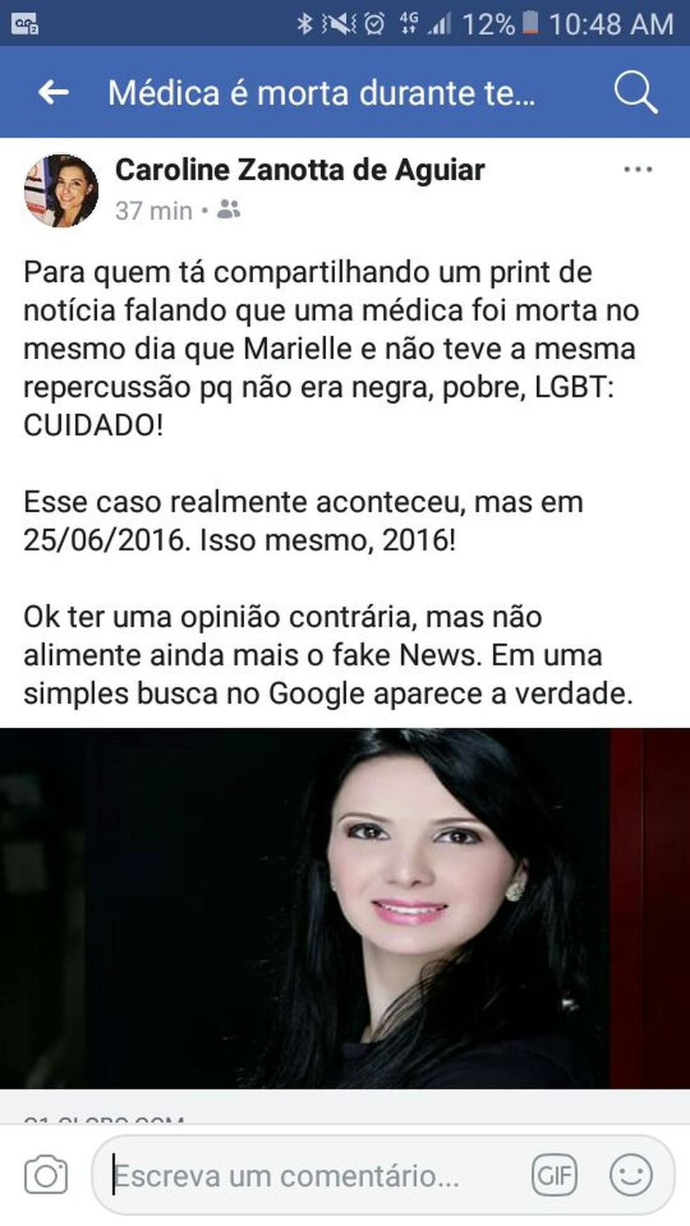 Usuária do Facebook alerta para notícia falsa (Foto: Reprodução/Facebook)